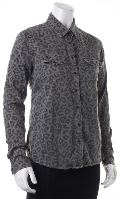 EQUIPMENT Gray Black Animal Print Button Down Denim Shirt Top