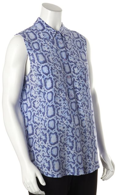 EQUIPMENT Blue Snake Print 100% Silk Sleeveless Button Down Shirt Blouse
