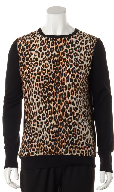 EQUIPMENT Black Leopard Print Wool Silk Combo Blouse Top