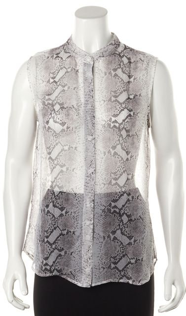 EQUIPMENT Gray Snake Printed Sheer Silk Sleeveless Button Down Blouse