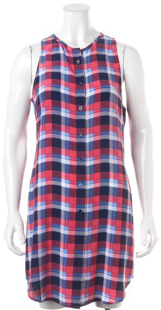 EQUIPMENT Red Blue White Plaid Silk Sleeveless Julian Shirt Dress