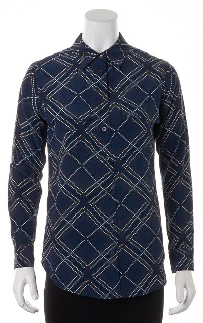 EQUIPMENT Blue Brown Black Geometric Silk Button Down Shirt