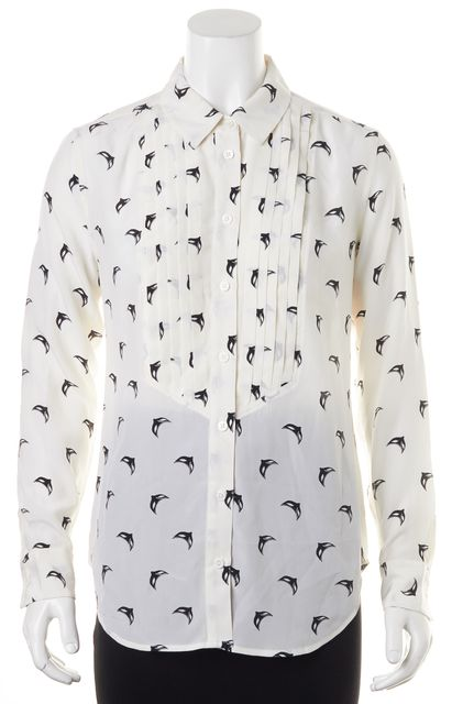 EQUIPMENT White Black Geometric Silk Long Sleeve Button Down Shirt