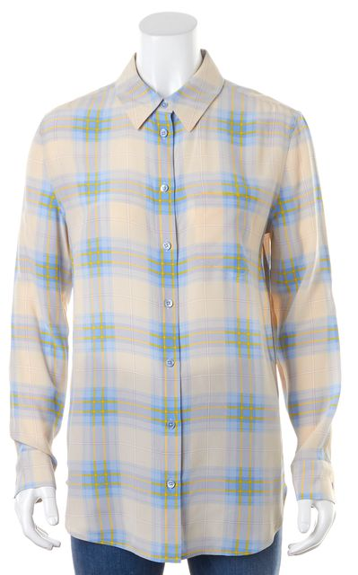 EQUIPMENT Beige Blue Yellow Plaid Silk Long Sleeve Button Down Blouse Top