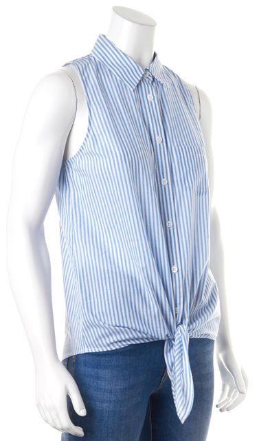 EQUIPMENT French Blue White Striped Mina Tie Front Button Down Shirt