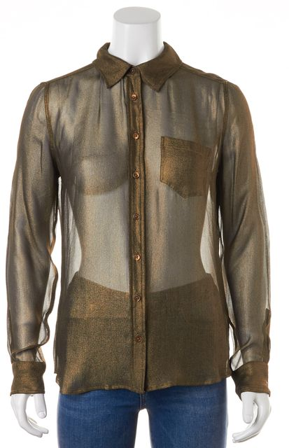 EQUIPMENT Gold Silk Long Sleeve Sheer Button Down Shirt