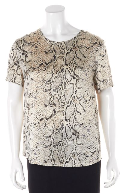 EQUIPMENT Beige Snakeskin Print Silk Blouse Top