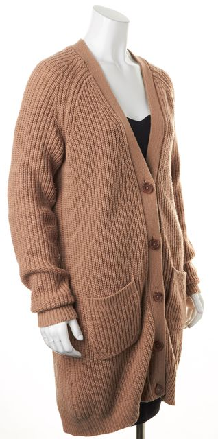 EQUIPMENT Tan Beige Medium Knit Front Pocketed Wool Cardigan