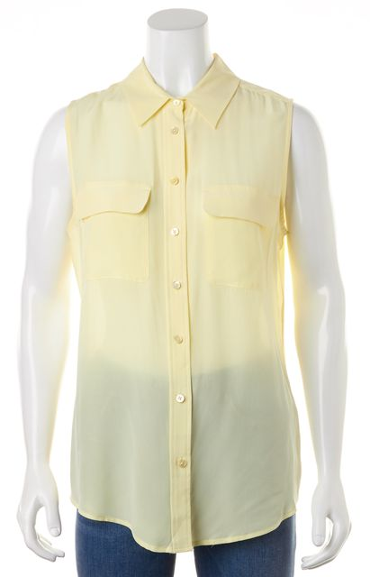 EQUIPMENT Yellow Silk Sleeveless Button Down Blouse Top