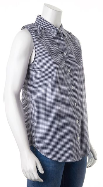 EQUIPMENT Navy Blue White Gingham Cotton Sleeveless Button Down Shirt Top