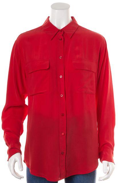 EQUIPMENT Red Silk Button Down Shirt