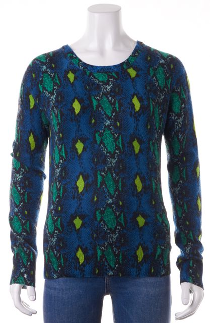 EQUIPMENT Blue Green Snakeskin Print Cashmere Knit Crewneck Sweater