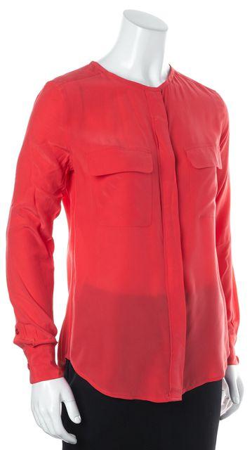EQUIPMENT Pink Silk Long Sleeve Button Front Blouse Top
