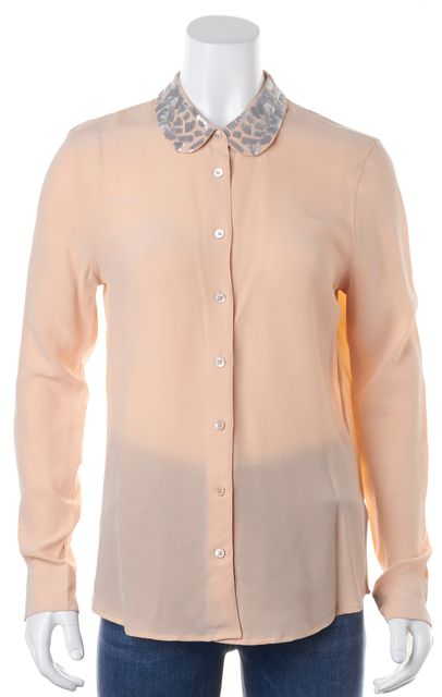 EQUIPMENT Pink Sequin Button Down Long Sleeve Silk Shirt Blouse