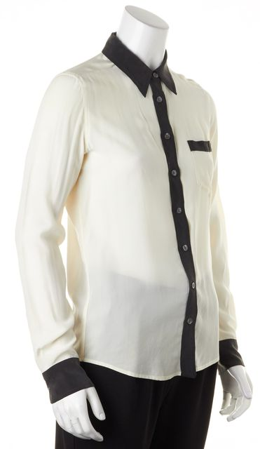 EQUIPMENT Ivory Black Colorblock Silk Long Sleeve Button Down Blouse Top