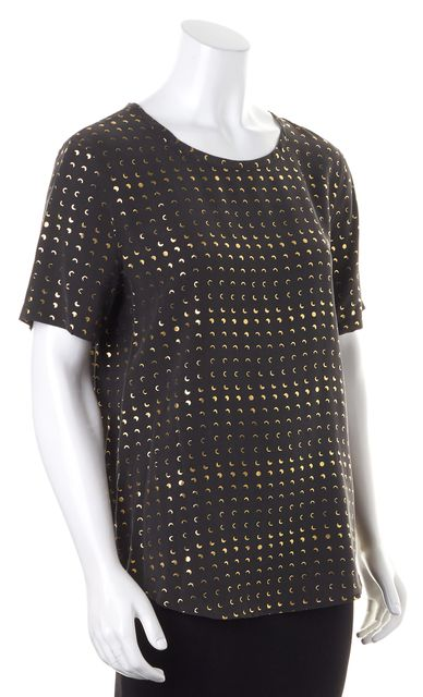 EQUIPMENT Solid Black Gold Moon Print Crepe Silk Short Sleeve Blouse