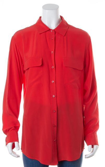 EQUIPMENT Red 100% Silk Long Sleeve Button Down Blouse