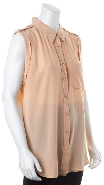 EQUIPMENT Peach Pink Semi Sheer Casual Crepe Silk Button Up Top