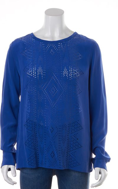 EQUIPMENT Electric Blue Silk Laser Cut Long Sleeve Blouse