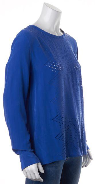 EQUIPMENT Electric Blue Silk Laser Cut Long Sleeve Blouse