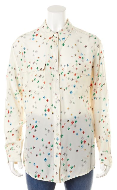 EQUIPMENT White Red Blue Rhinestone Graphic Silk Blouse