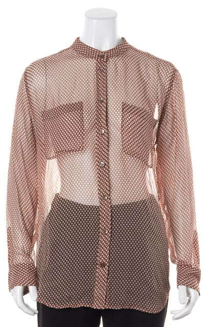 EQUIPMENT Red Ivory Polka Dot Sheer Crepe Silk Blouse