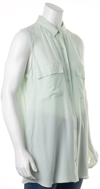 EQUIPMENT Glacier Green Semi Sheer Crepe Silk Button Up Blouse
