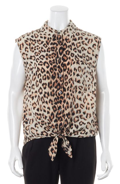 EQUIPMENT Brown Leopard Print Crepe Silk Button Up Blouse