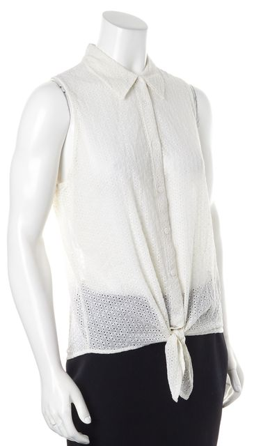 EQUIPMENT White Lace Crepe Silk Sleeveless Button Up Blouse
