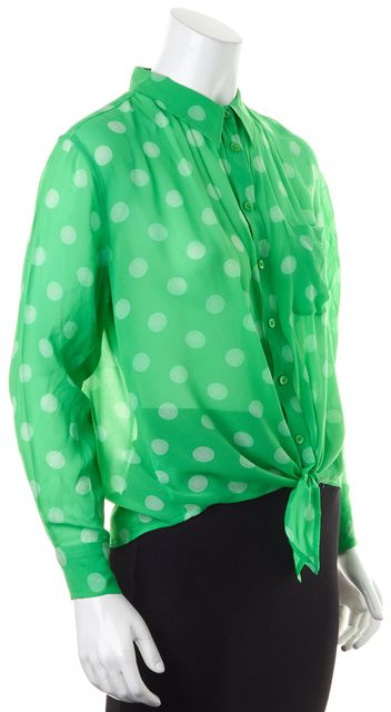 EQUIPMENT Green Polka Dot Semi Sheer Silk Tie Front Long Sleeve Blouse