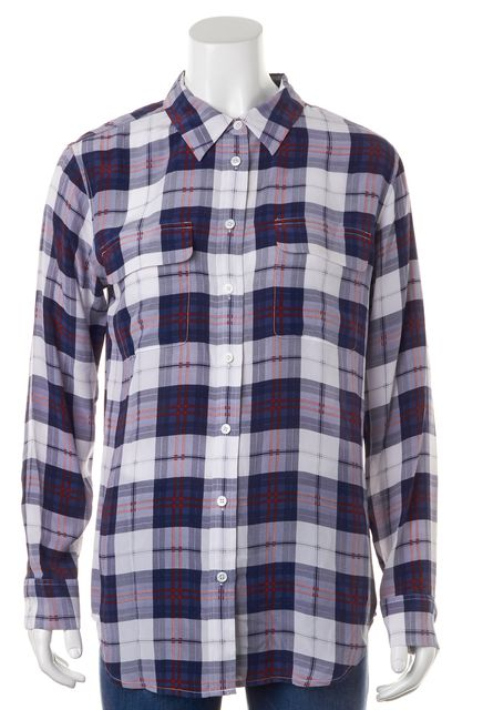 EQUIPMENT Blue Red White Long Sleeve Plaid Button Down Shirt Top