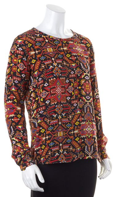 EQUIPMENT Red Brown Yellow Blue Aztec Print Long Sleeve Crepe Silk Blouse