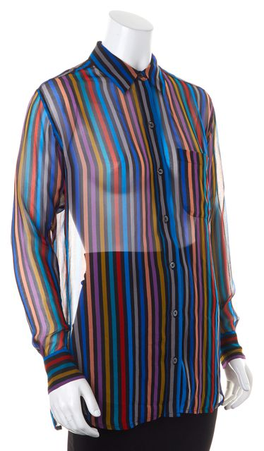 EQUIPMENT Multi-Color Striped Semi Sheer Button Down Top