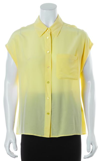EQUIPMENT Yellow Silk Cap Sleeve Button Down Shirt Top