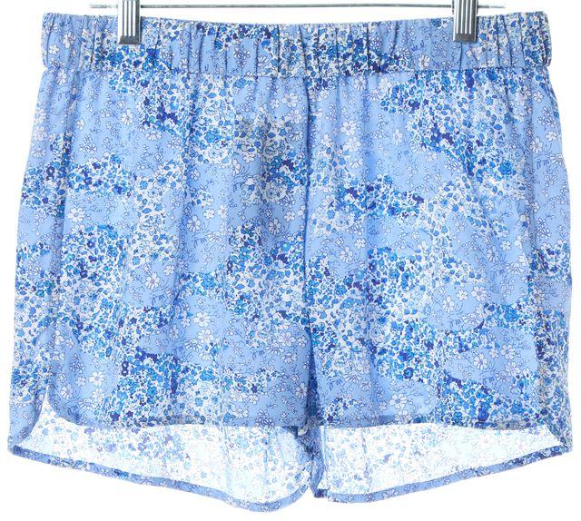 EQUIPMENT Blue White Floral Silk Elastic Waist Casual Shorts