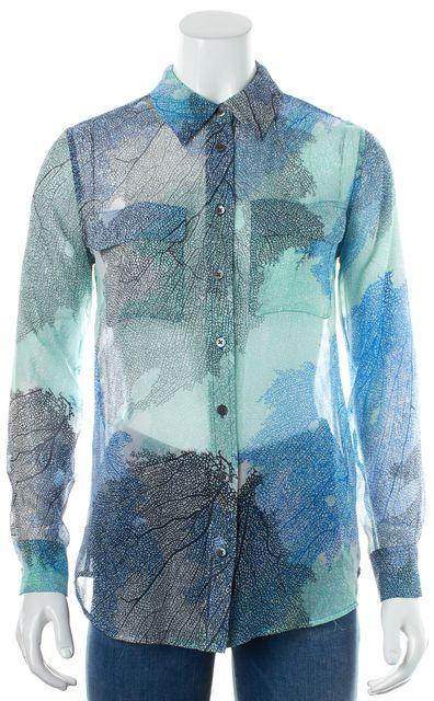 EQUIPMENT Blue Navy Green Tree Branch Print Button Down Shirt