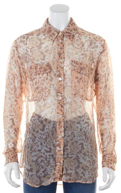 EQUIPMENT Beige Silk Leopard Print Button Down Shirt