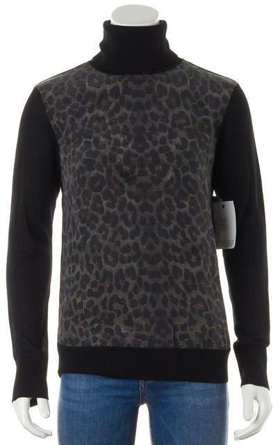 EQUIPMENT Black Wool Leopard Print Turtleneck Sweater