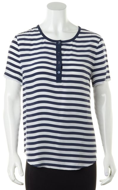 EQUIPMENT Navy White Crepe Silk Striped Sailor Top