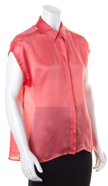 EQUIPMENT Neon Hot Pink Short Sleeve Casual Satin Silk Button Up Blouse