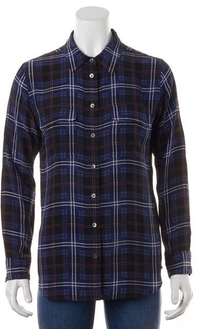 EQUIPMENT Navy Blue White Red Plaid Print Silk Button Down Shirt
