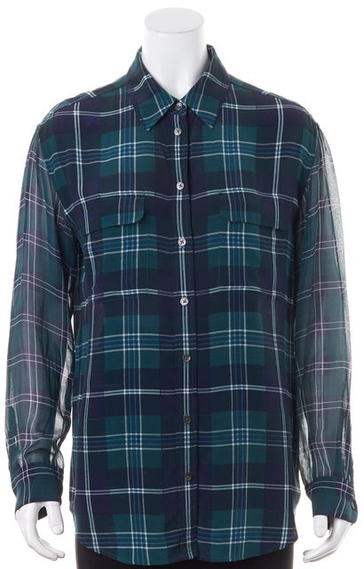 EQUIPMENT Green Blue White Plaid Print Silk Button Down Shirt