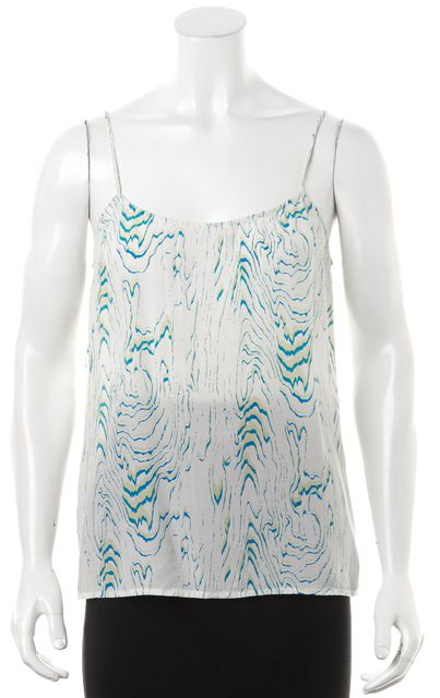 EQUIPMENT Green White Abstract Silk Tank Top