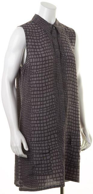 EQUIPMENT Gray Crepe Silk Crocodile Print Sleeveless Shirt Dress