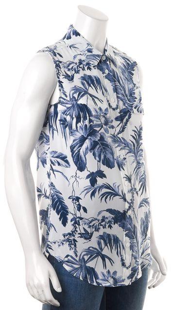 EQUIPMENT Blue White Floral Sleeveless Silk Blouse