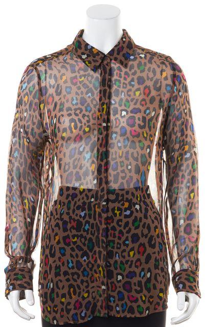 EQUIPMENT Brown Multi-Color Sheer Leopard Print Button Down Shirt
