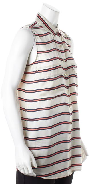 EQUIPMENT Beige Red Navy Striped Sleeveless Silk Button Down Shirt