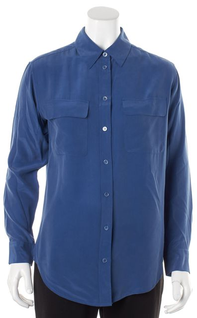EQUIPMENT Bright Blue Silk Long Sleeve Button Down Shirt