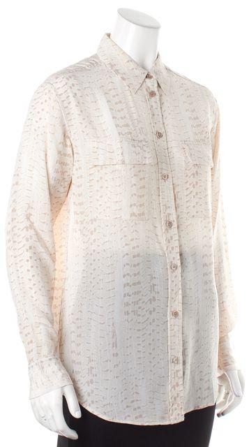 EQUIPMENT Ivory Beige White Abstract Silk Button Down Shirt
