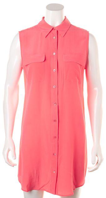 EQUIPMENT Light Coral Pink Silk Sleeveless Shirt Dress